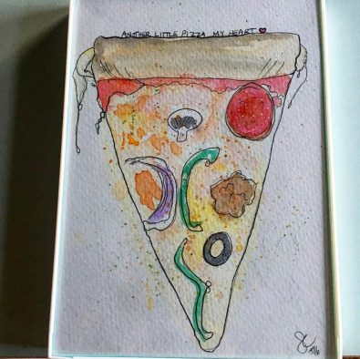 Sara Conley I painted Your Cat Doodlewash and watercolor sketch of pizza