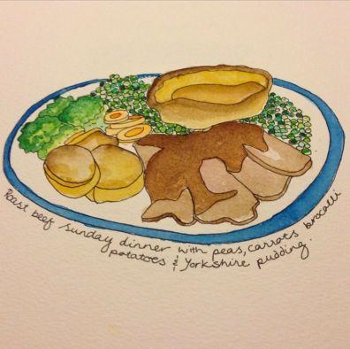 Sarah Doodlewash of dinner of roast beef and peas