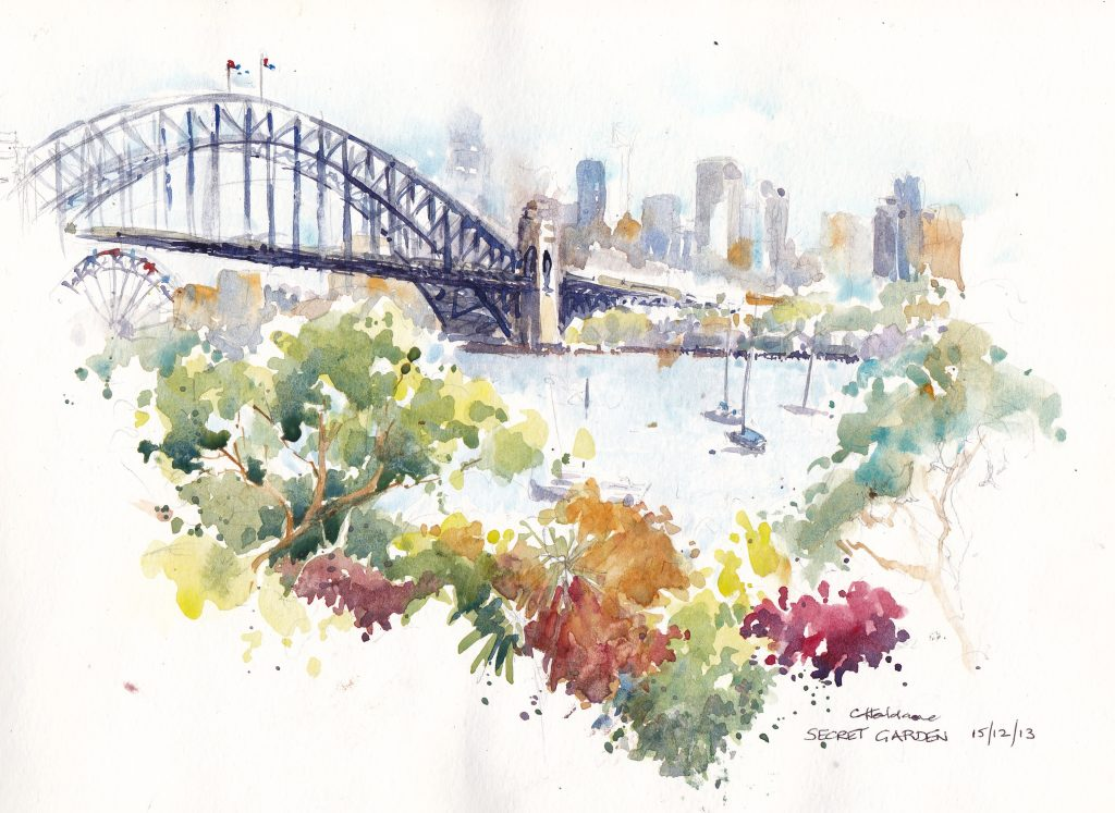 Doodlewash and watercolor urban sketch by Chris Haldane of Sydney Harbor bridge in Australia