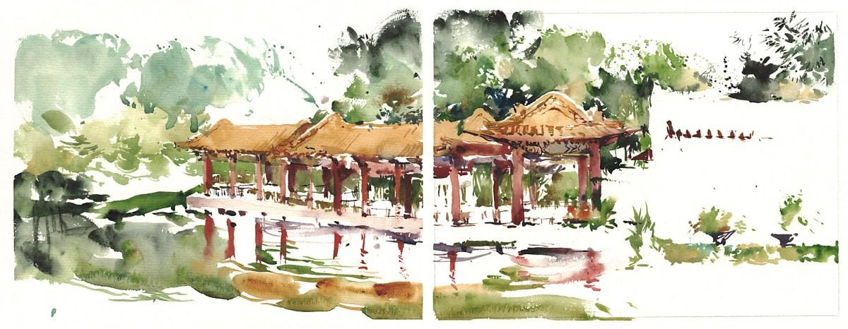 Singapore Chinese Garden - Doodlewash, Urban Sketch in watercolor