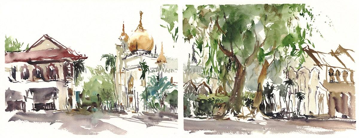 Singapore Grand Mosque - Doodlewash, Urban Sketch in watercolor