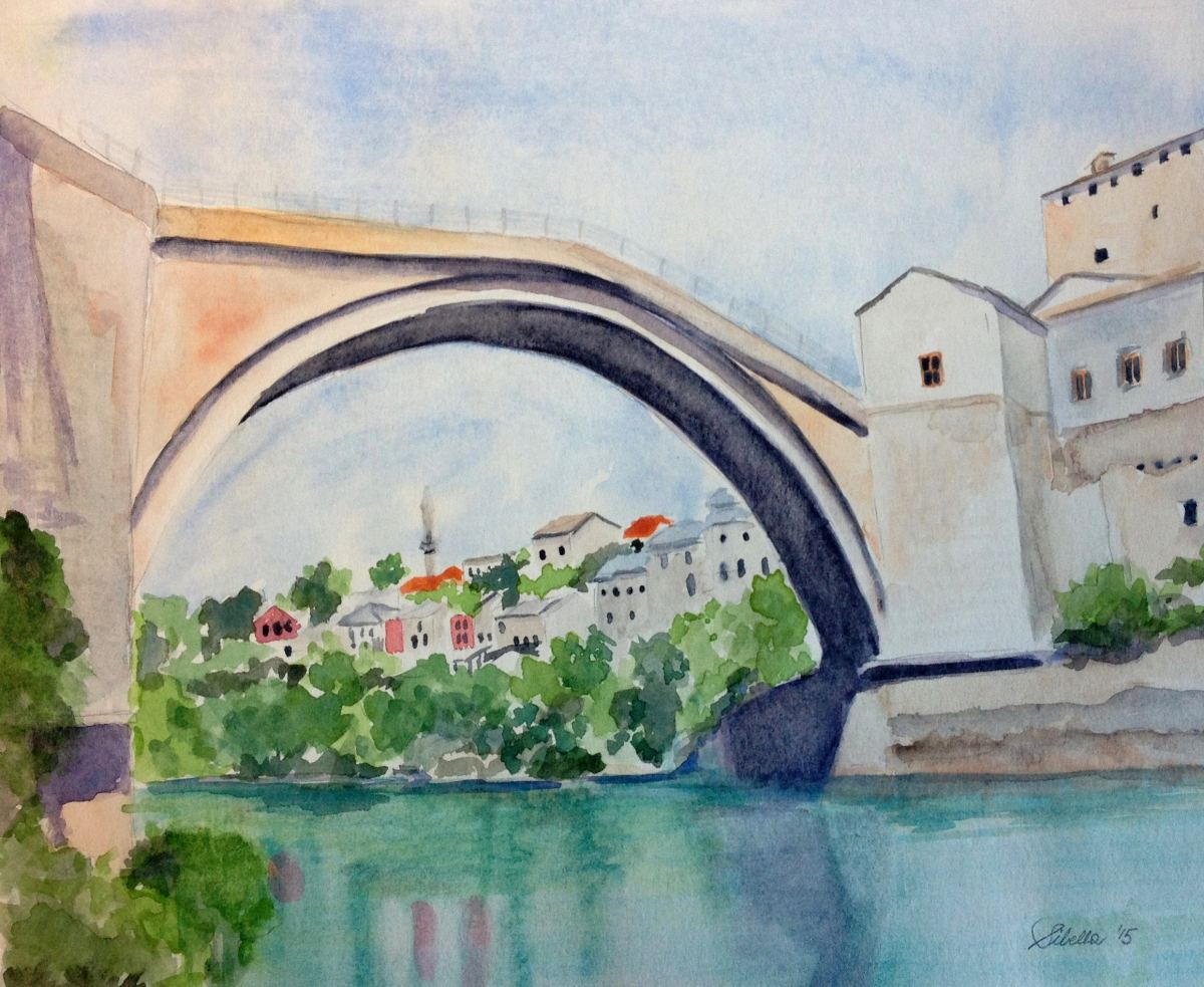 Doodlewash and watercolor painting by Sibella of old bridge over water with houses in the distance