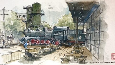 Doodlewash and watercolor sketch by Benny Kharismana of train in Asia urban sketch