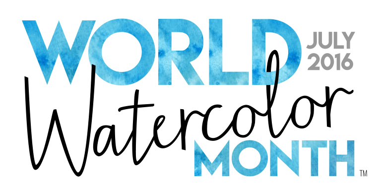 World Watercolor Month July 2016 Primary Logo - worldwatercolor.com - Founded by Charlie O'Shields Doodlewash