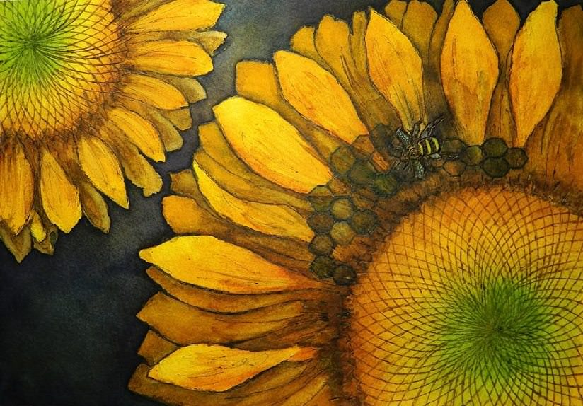 Doodlewash and watercolor painting by Pattie Keller Fuller of Sunflowers