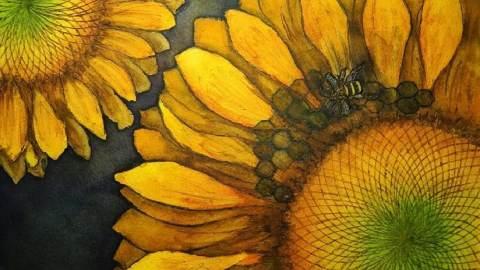 Doodlewash and watercolor painting by Pattie Keller Fuller of Sunflowers