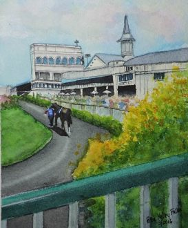 Doodlewash and watercolor painting by Pattie Keller Fuller of Horse racing track