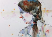 Doodlewash and watercolor painting by Nora MacPhail of woman portait