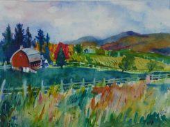 Doodlewash and watercolor sketch by Celia Blanco of rural landscape