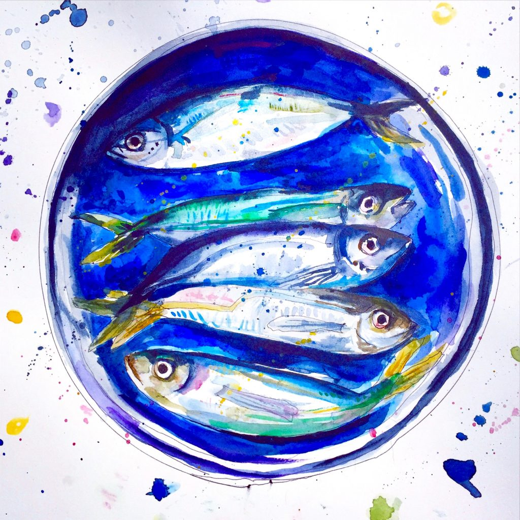 Doodlewash and watercolor sketch by Alice Cleary of five fish on blue plate