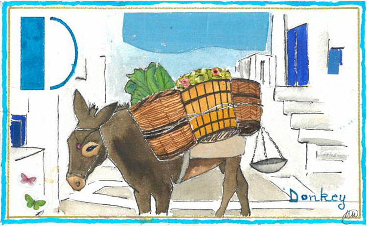 Doodlewash and watercolor sketch by M. L. Kappa of Donkey in Greece