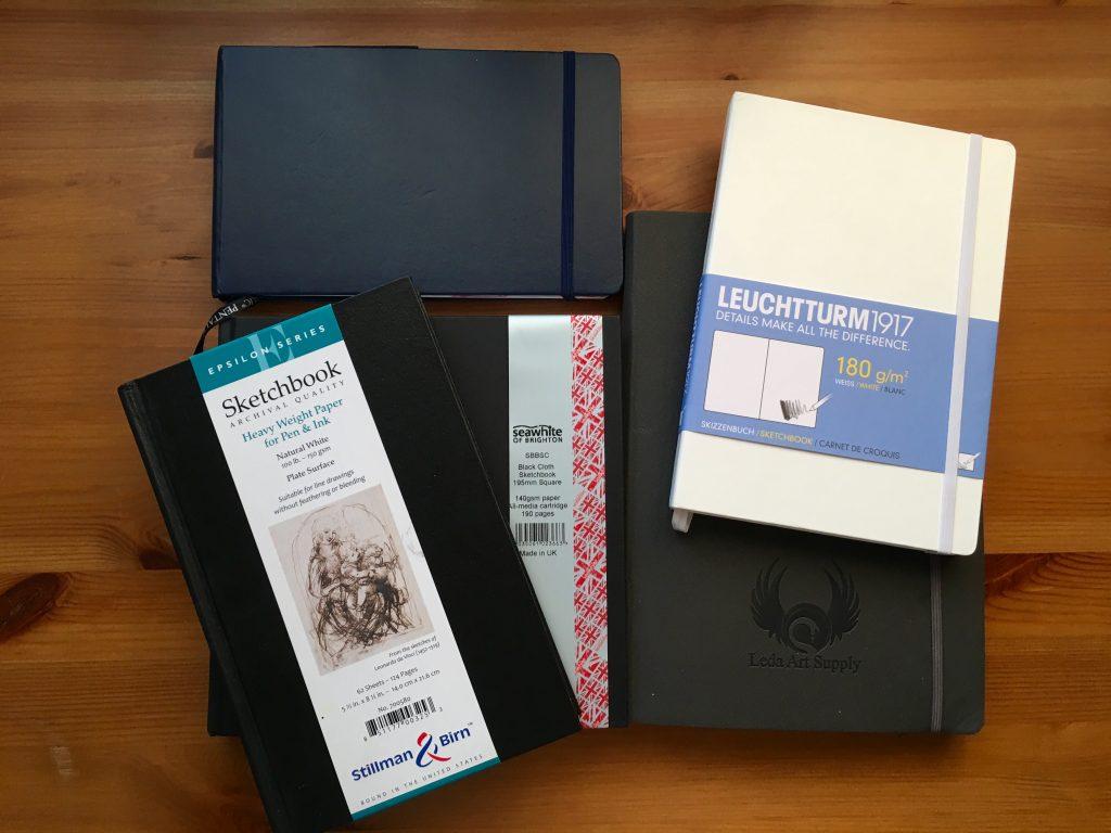 Stillman & Birn, Seawhite of Brighton, Leuchtturm 1917, Leda Art Supply, and Pentalic journals sketch watercolour