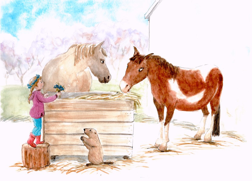 Doodlewash and watercolor painting by Olga Reiff of horses and little girl