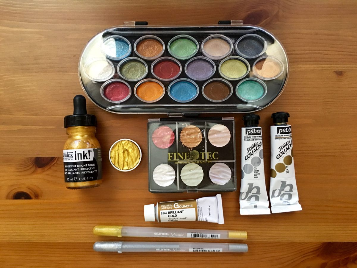 Finetec Artist Mica Watercolors, Yasutomo Niji Pearlescent Watercolor Paint, liquitex gold acrylic ink, sakura gelly roll pens holbein brilliant gold gouache, pebeo gold and silver gouache