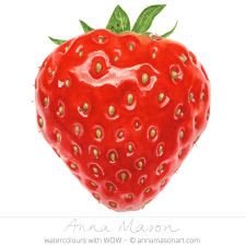 Doodlewash - Watercolor painting by Anna Mason of strawberry close up