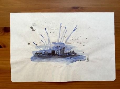 Tomoe River paper with ink sketch