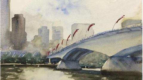 Doodlewash and watercolor sketchy by Asuka Kagawa of Victoria Brisbane Queensland