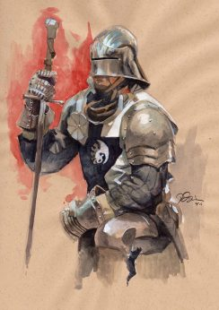 Doodlewash and Watercolor Sketch by Danny Beck of Armor Study
