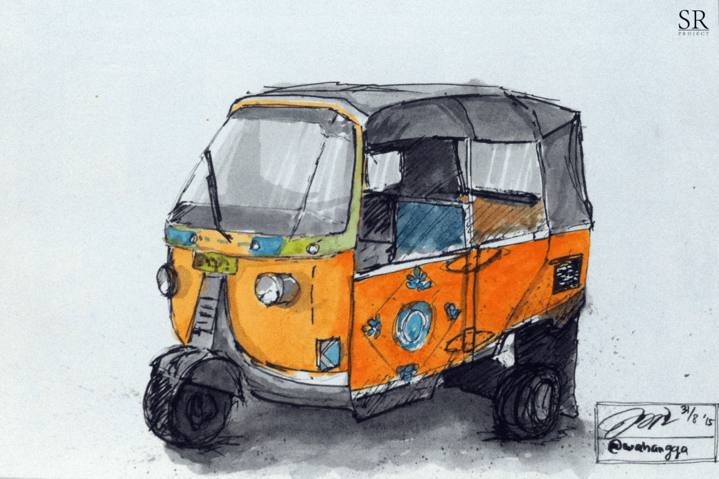 Doodlewash and watercolor sketch by Ngurah Angga of Bajaj auto