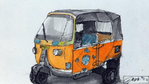 Doodlewash and watercolor sketch by Ngurah Angga of Bajaj auto