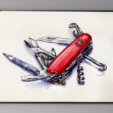 Day 19: #WorldWatercolorMonth Red Swiss Army Knife