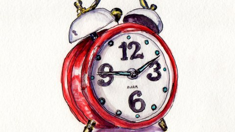 Day 24 - #WorldWatercolorMonth Red Vintage Alarm Clock Watercolor