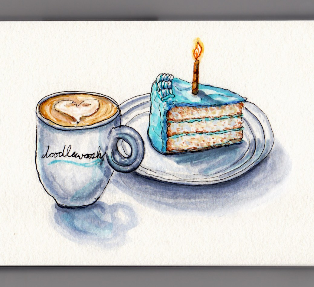 Day 3 #WorldWatercolorMonth Happy 1st Birthday Doodlewash cappuccino in mug with white cake blue icing and orange candle on white background