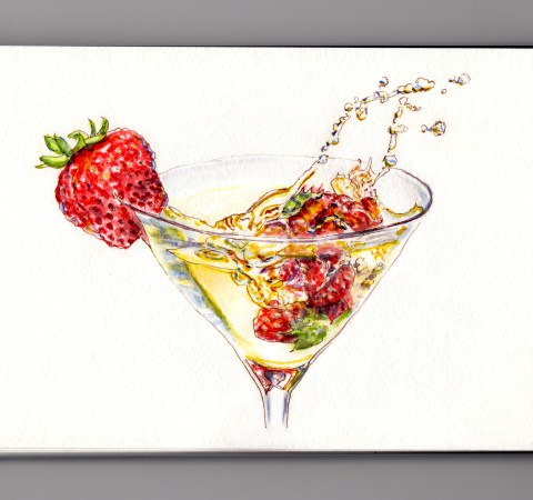 Day 31: #WorldWatercolorMonth Champagne glass with splashing strawberries