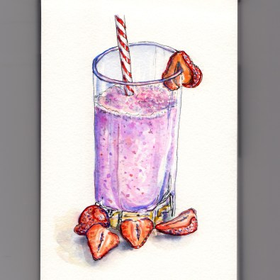Day 7: #WorldWatercolorMonth Strawberry Smoothie with straw and strawberries in glass on white background