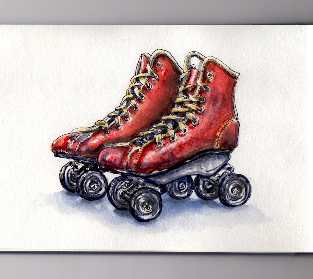 Day 9 #WorldWatercolorMonth Old Red Roller Skates on White Background