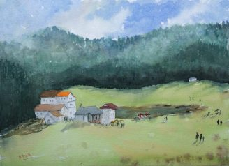 Doodlewash and watercolor sketch by Ritvik Sharma of rural town