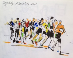 Doodlewash and watercolor sketch by Diane Klock of 2014 New York City Marathon