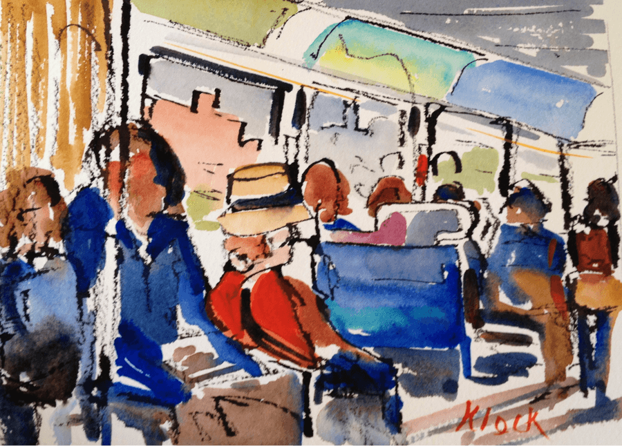 Doodlewash and watercolor sketch by Diane Klock of people on public transport