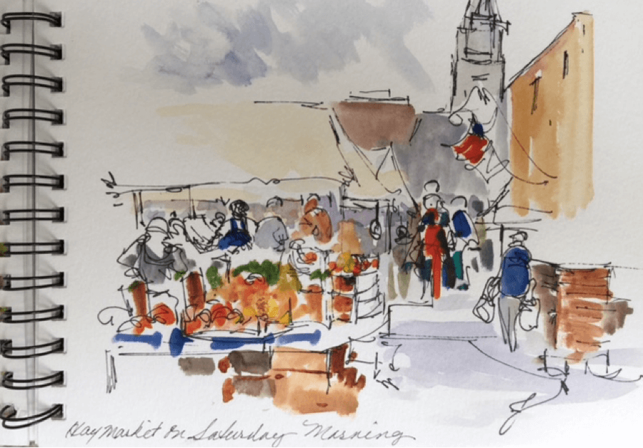 Doodlewash and watercolor sketch by Diane Klock of street vendors