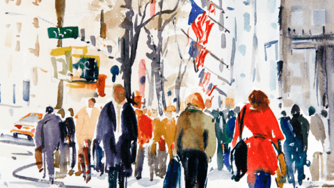 Doodlewash and watercolor sketch by Diane Klock of city street