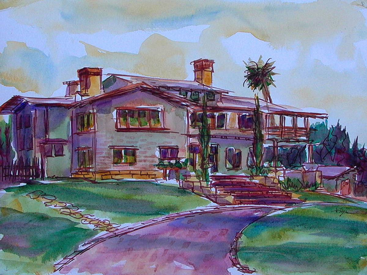Doodlewash and watercolor sketch by Keni Arts of Gamble House