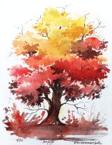 Doodlewash by Anupriya Arvind orange tree