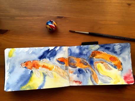 White Nights Watercolours koi fish painting by jessica seacrest in a pentalic watercolor journal