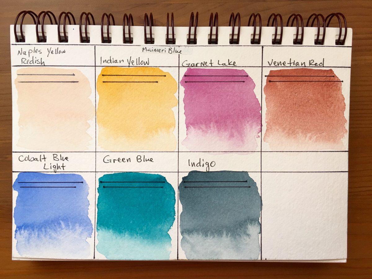 MaimeriBlu watercolor swatch samples