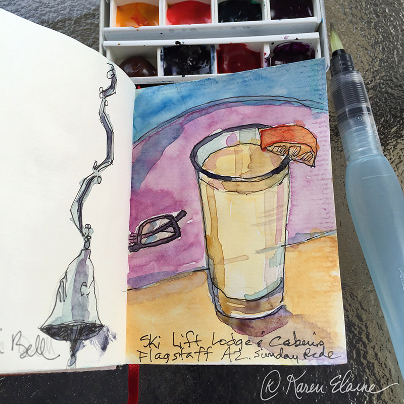 Doodlewash - #nanosketch by Karen Elaine Parsons of drink