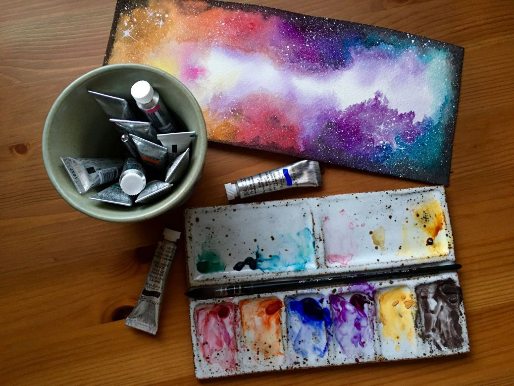 Winsor & Newton watercolor nebula painting by jessica seacrest