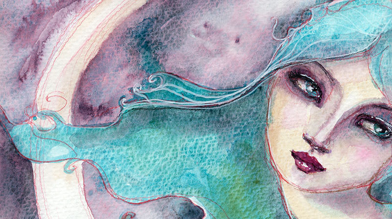 Doodlewash and watercolor by Jane Davenport of woman teal blue