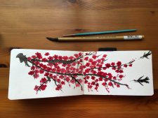 Winsor & Newton sanguine watercolor painting by jessica seacrest