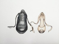 Doodlewash and watercolor painting by Esther Geh of mens and woman's shoe