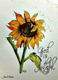 Doodlewash and watercolor sketch by Melanie J. Dorsey of orange flower