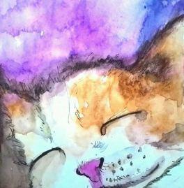 Doodlewash - Watercolor by Charu Jain of cat sleeping