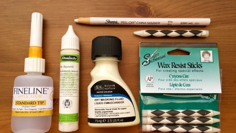 Schmincke, Winsor & Newton, China Marker, Wax Resist, Fineline Applicator masking fluid demo