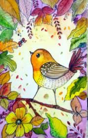 Doodlewash - Watercolor by Charu Jain of autumn bird