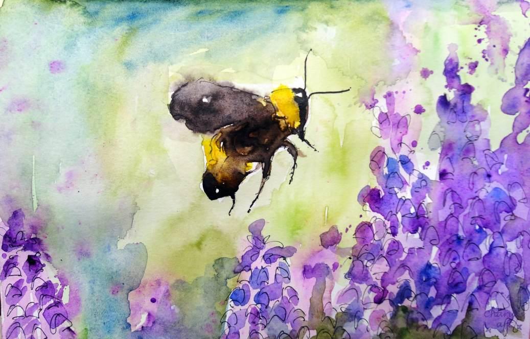 Doodlewash - Watercolor by Charu Jain of bumblebee