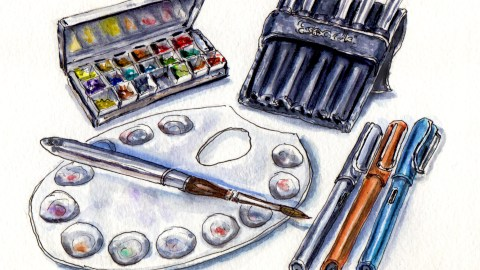 My Favorite Art Supplies #WorldWatercolorGroup Cheap Joe's Travel Palette Escoda Versatil Travel Brushes Metal Palette Lamy Safari Al Star Fountain Pens